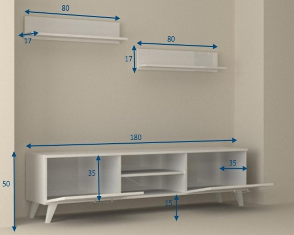 متجر مواسم طاولة تلفاز بيضاء برفوف علوية القياسات التفصيلية للطاولة