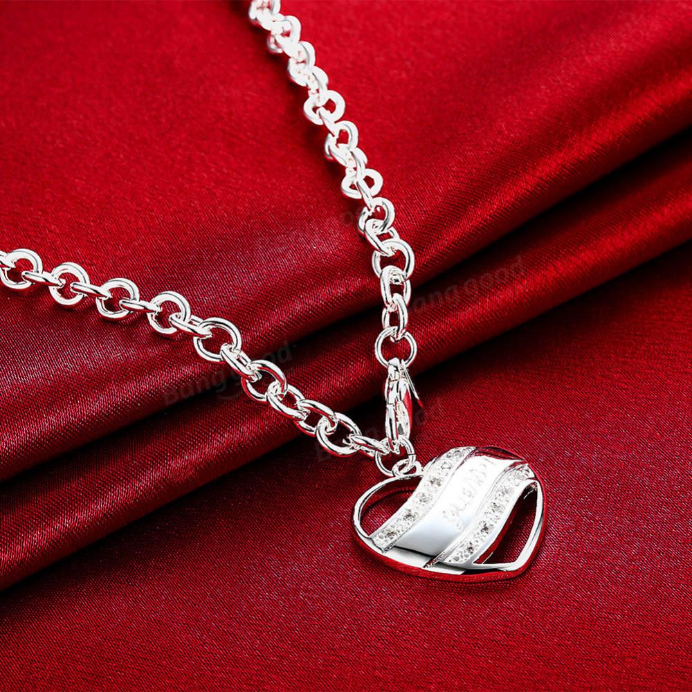 قلادة القلب لحجر الراين من الفضة المطلي
