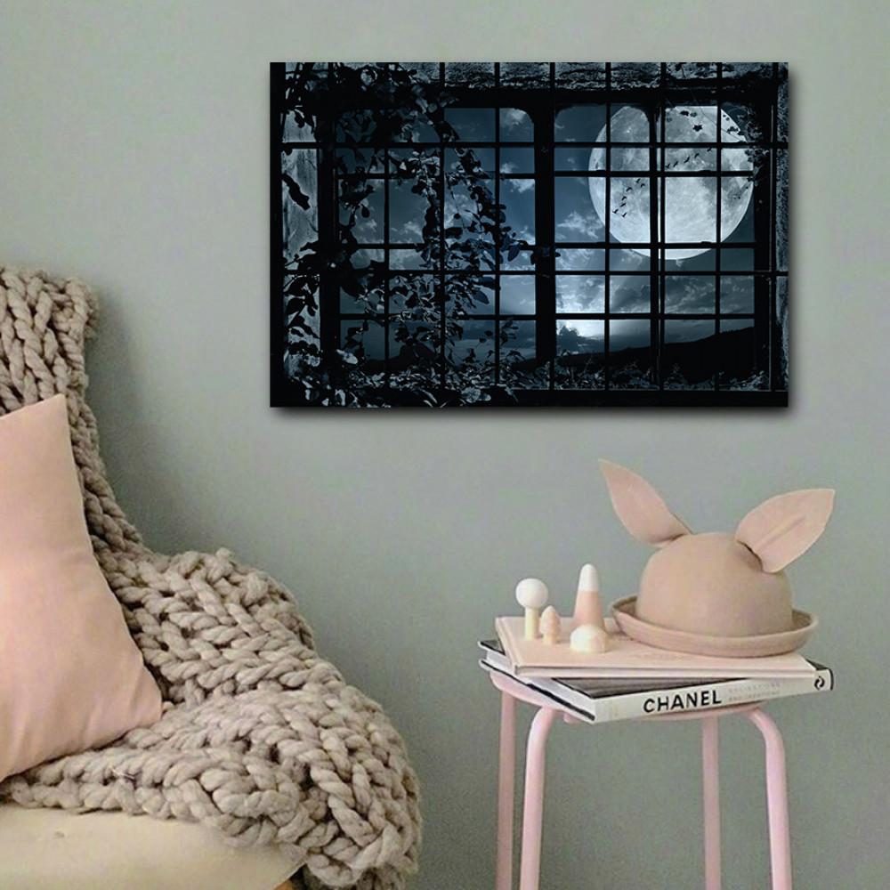 لوحة نافذة على القمر خشب ام دي اف مقاس 40x60 سنتيمتر