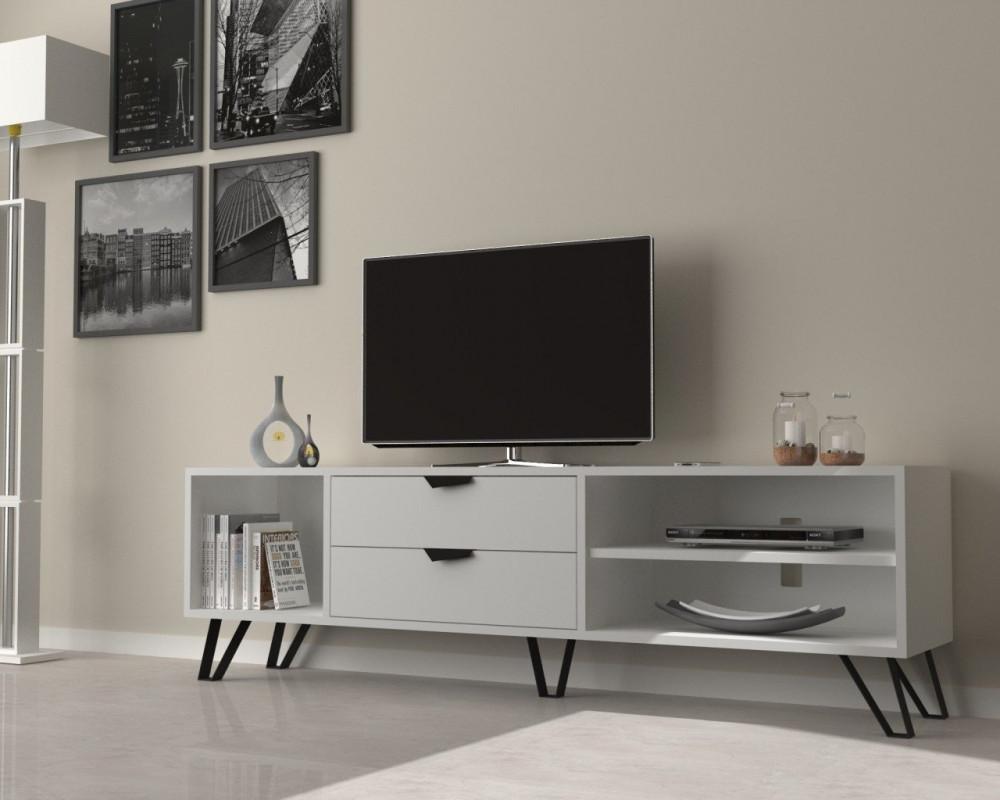 تجارة بلا حدود طاولة تلفاز خشبية بيضاء بأرجل سوداء من المعدن