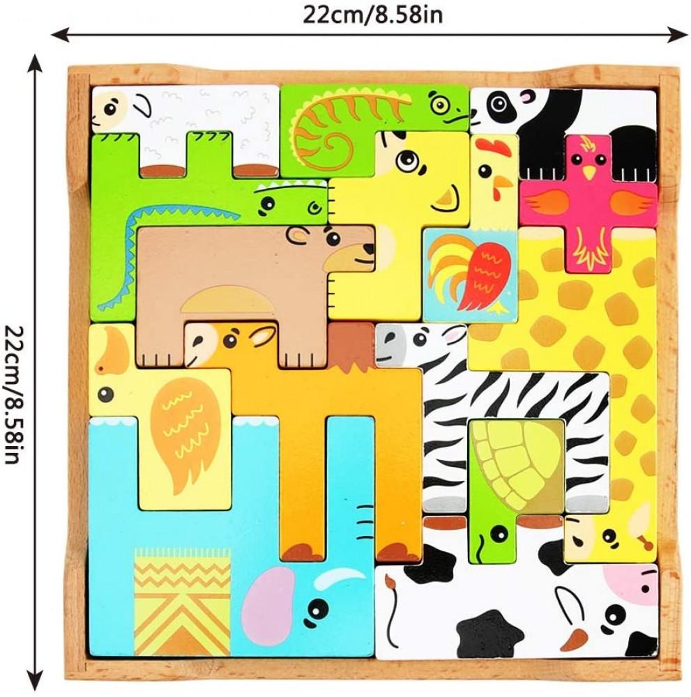 مقاس لعبة تركيب اشكال الحيوانات الخشبية