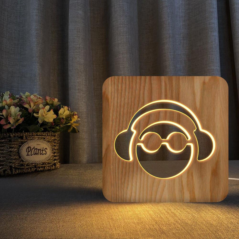 مواسم تحفة مضيئة على شكل سماعة الأذن مصنوعة من الخشب ثلاثية الأبعاد