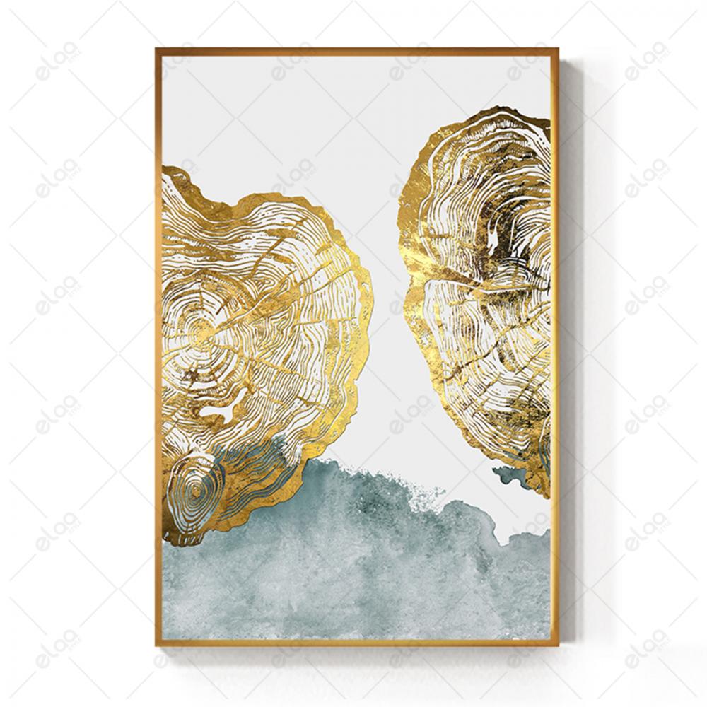 لوحة فن تجريدي بدرجات اللون الذهبي والفيروزي