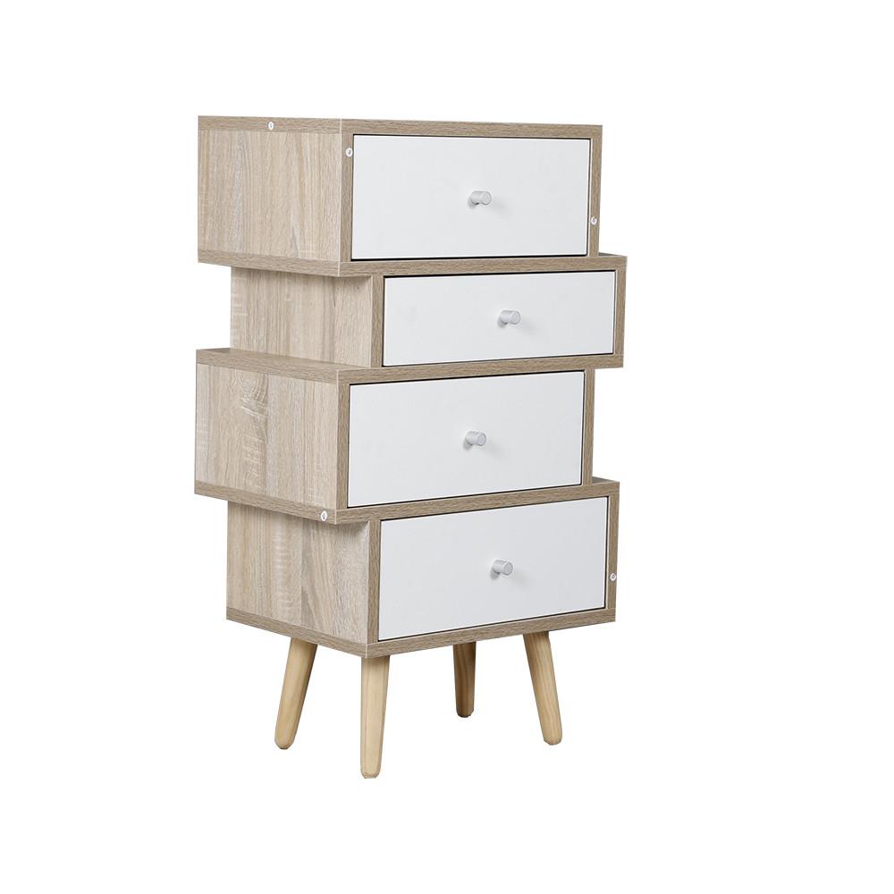 صور طاولة جانبية موديل فور خشب بأربعة أدراج تخزين لون أبيض وخشبي عملية