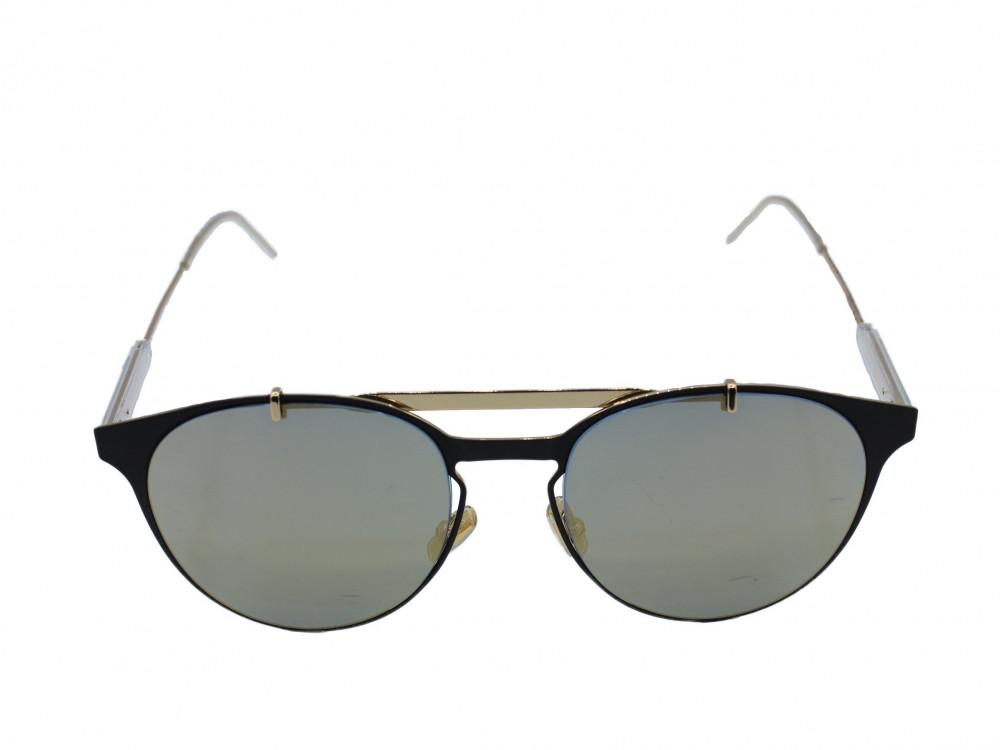 نظاره شمسية دائرية من ماركة  DIOR  لون العدسة اسود ميرور ذهبي
