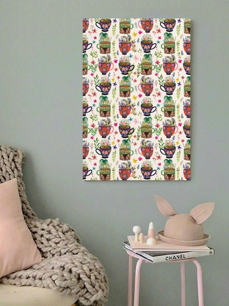 لوحة كاسات و زهور خشب ام دي اف مقاس 40x60 سنتيمتر