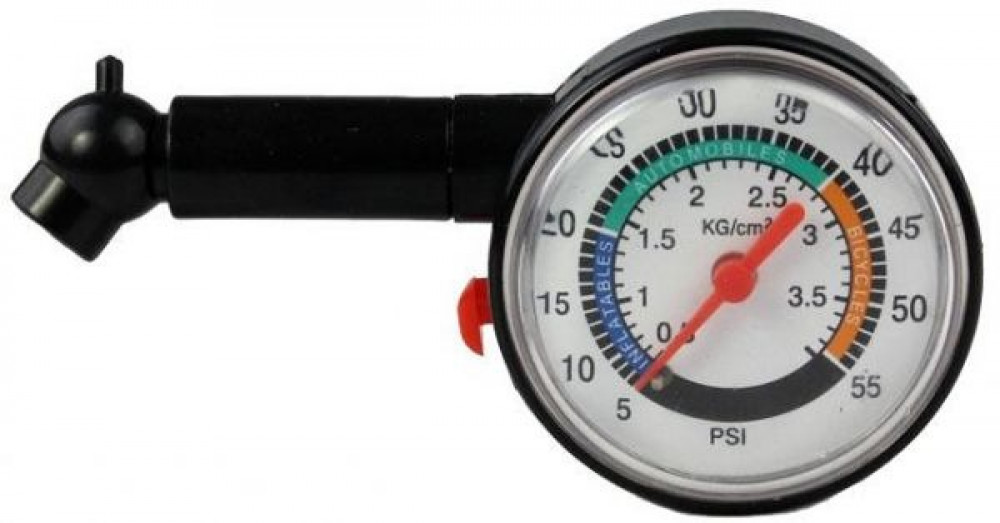 جهاز قياس ضغط هواء كفرات أطارات السيارة أسود