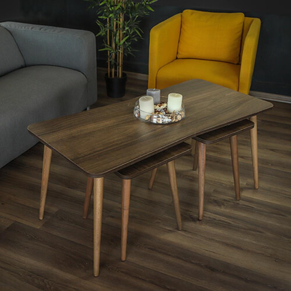 صور طاولة  قهوه طاولات قهوة خشب بني 3 قطع موديل كالي