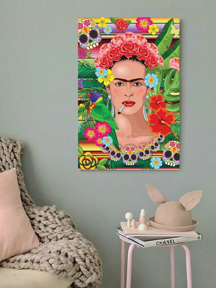 لوحة فريدا كاهلو خشب ام دي اف مقاس 40x60 سنتيمتر