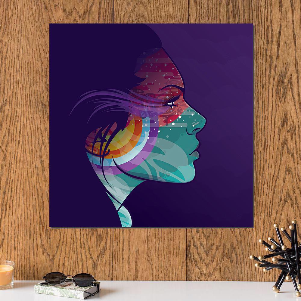 لوحة وجه فتاة خشب ام دي اف مقاس 30x30 سنتيمتر