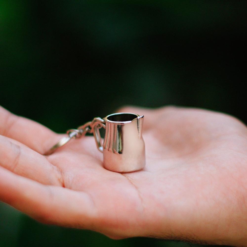 ميدالية مفاتيح لعشاق لاتيه ميداليات أدوات القهوة هدية رجالية نسائية