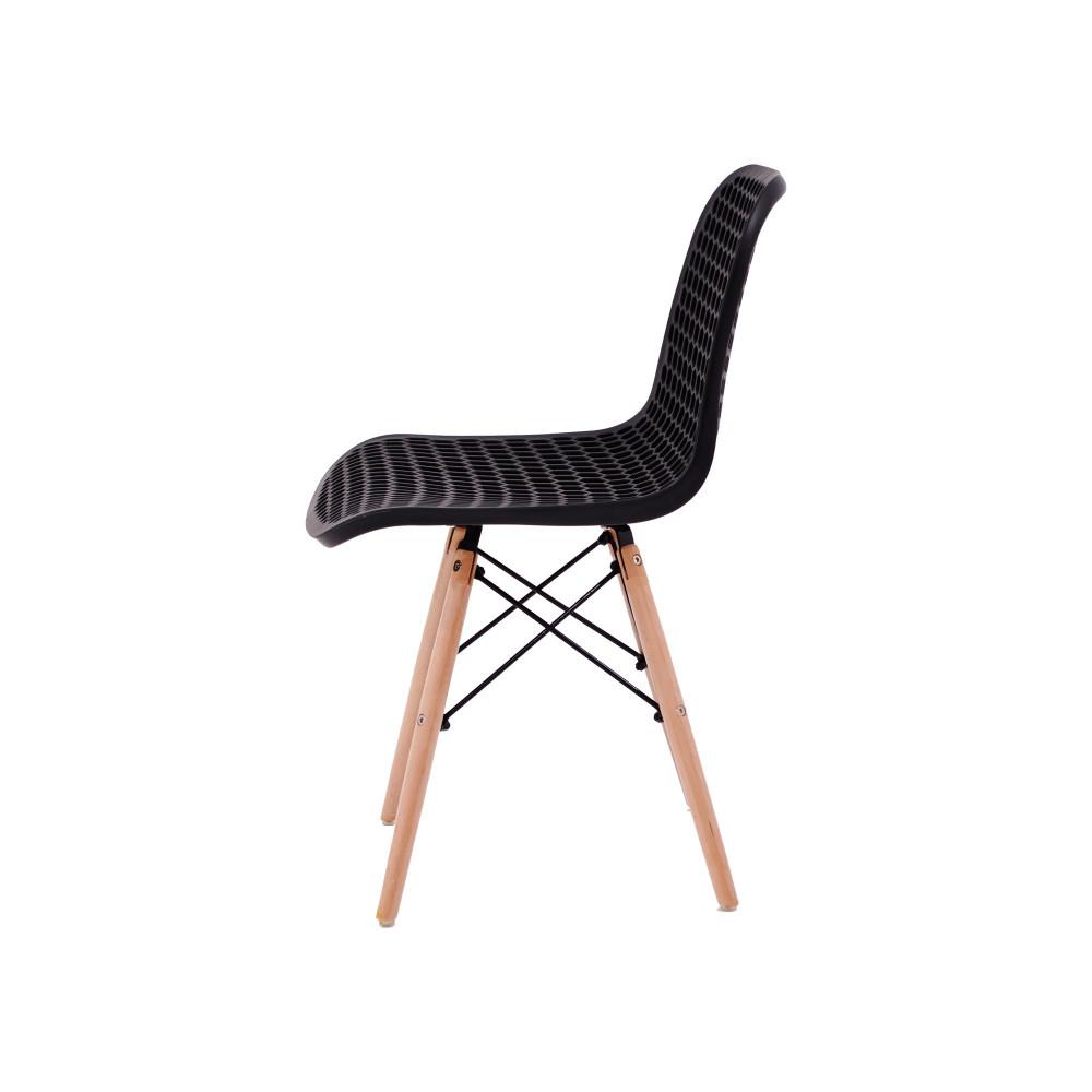 كرسي كاما فيبر اسود مثقب ارجل خشب C-D-865 BLACK