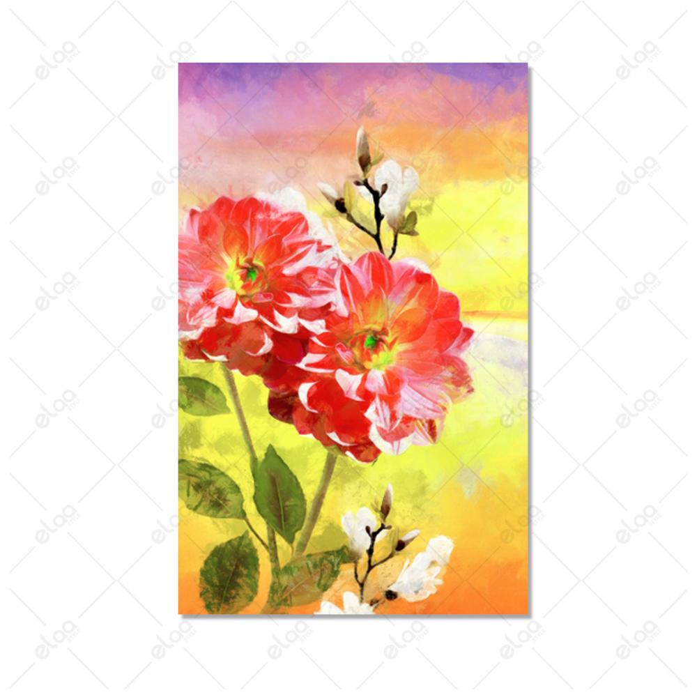 لوحة فن تجريدي لورود بخلفية مدرجة ازرق ووردي