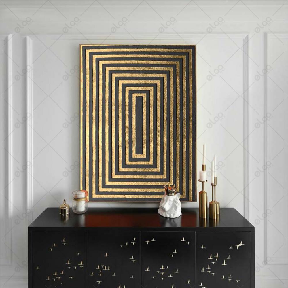 لوحة جدارية مجردة مربعات ذهبية