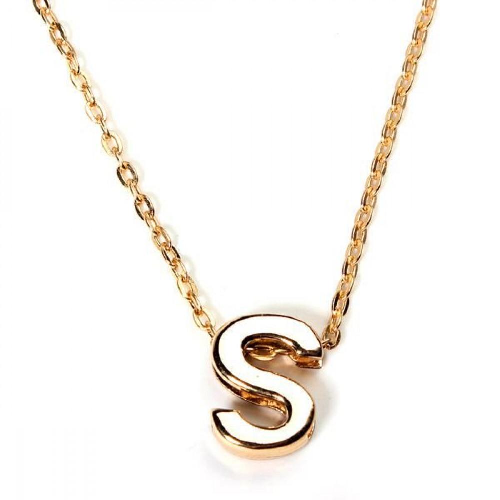 قلادة للجنسين من الذهب مطلي للحروف الأبجدية