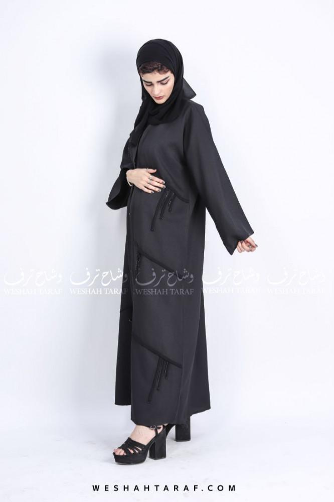 عباية بشك أسود امامي قماش لينن