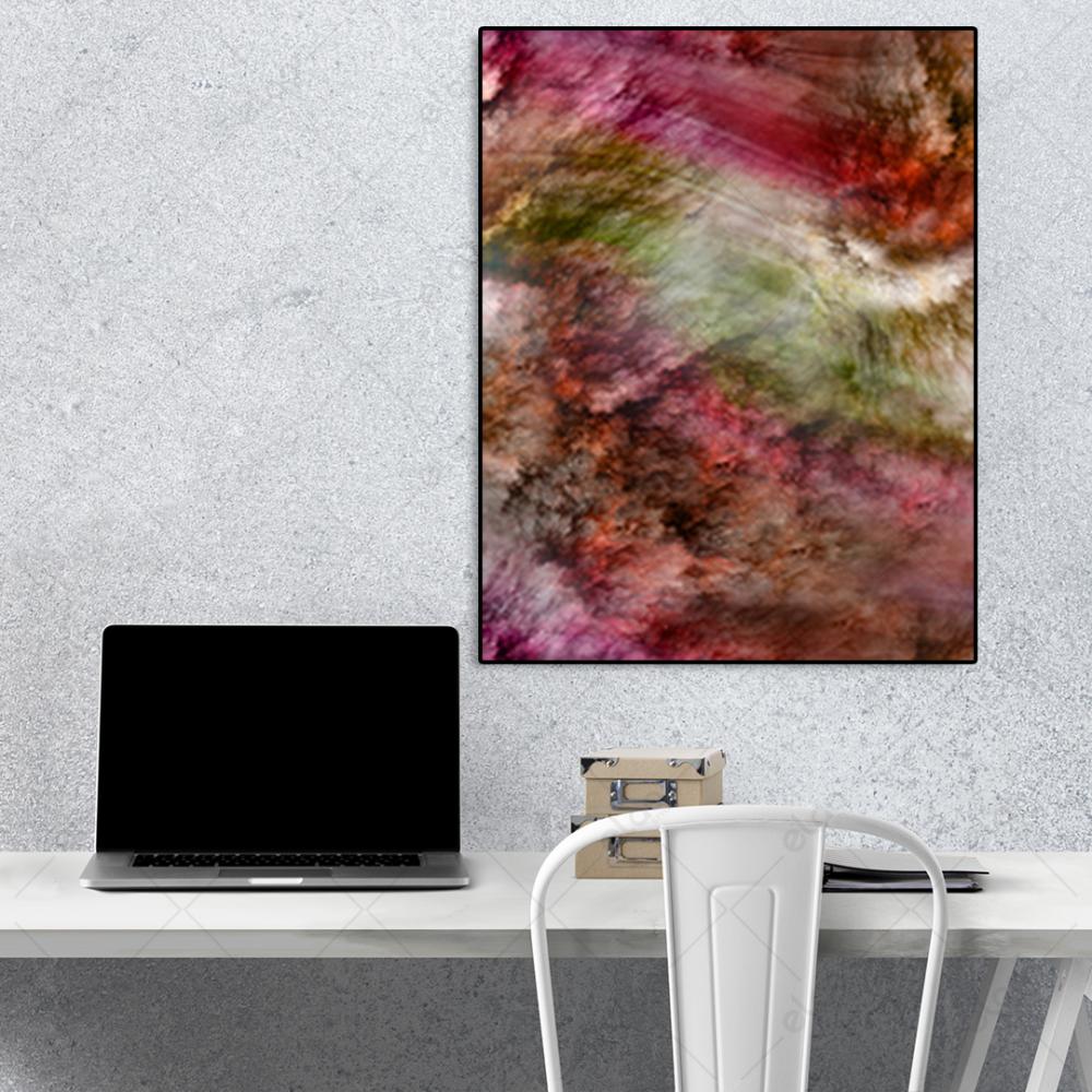 لوحة فن تجريدي خليط من الالوان البني والوردي والعشبي