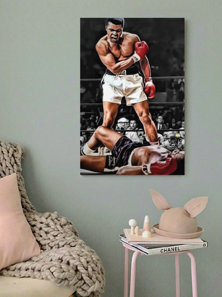 لوحة الملاكم محمد علي خشب ام دي اف مقاس 40x60 سنتيمتر