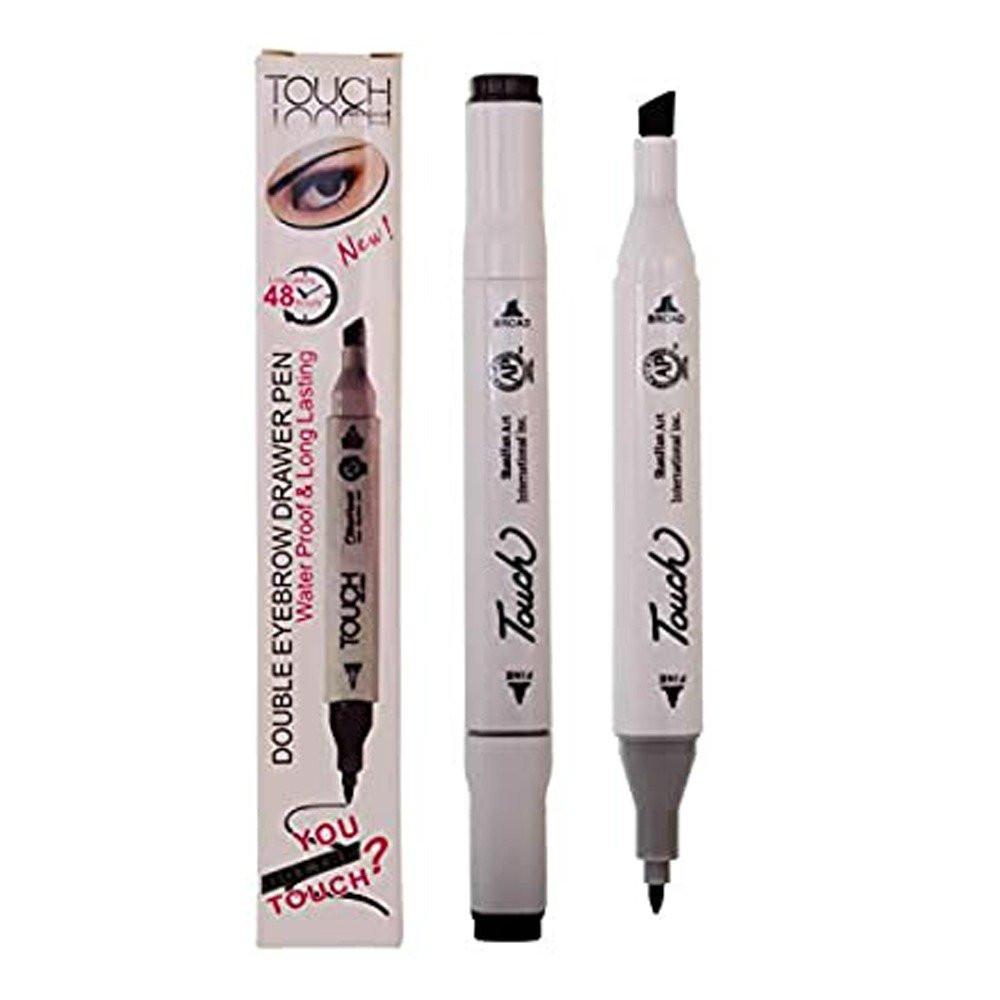 قلم تتش المزدوج لرسم وتحديد الحواجب ثابت ويدوم طويلا لون بني