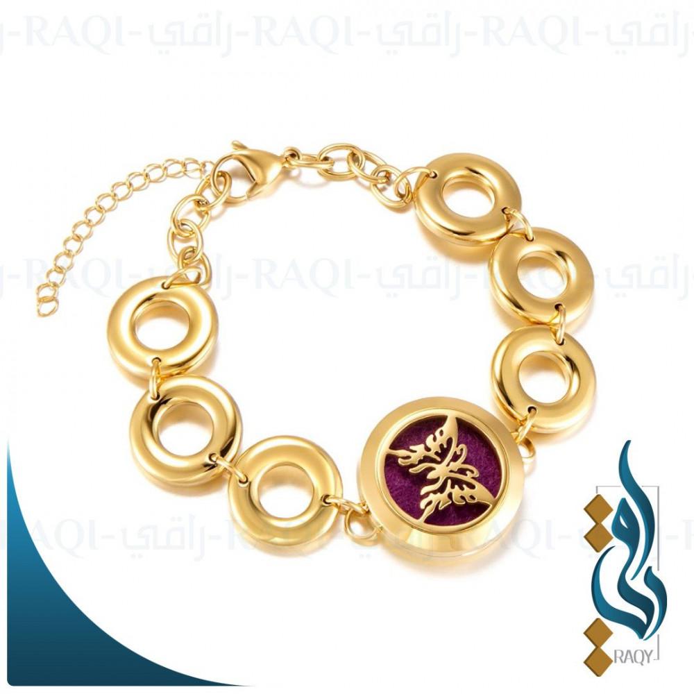 إسوارة دهن العود العطري والفواح بتصميم راقي اللون ذهبي