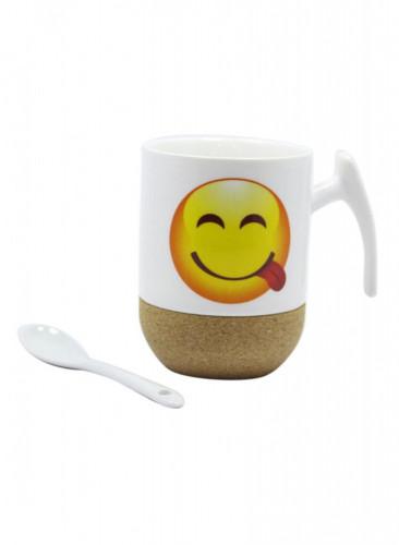 كوب سيراميك للقهوة و الشاي مع ملعقة عليه وجه مبتسم White 12x10x13سنتيمتر