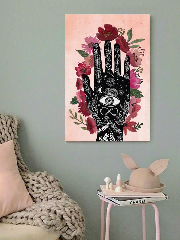 لوحة الكف و الورود خشب ام دي اف مقاس 40x60 سنتيمتر