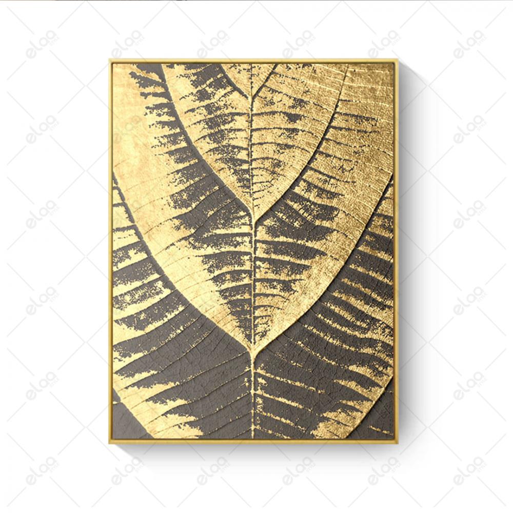 فن تجريدي ورق شجر ذهبي بخلفية رمادي