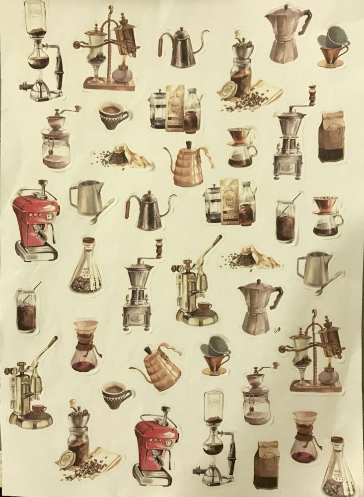 40قطع ستيكرز للقهوة