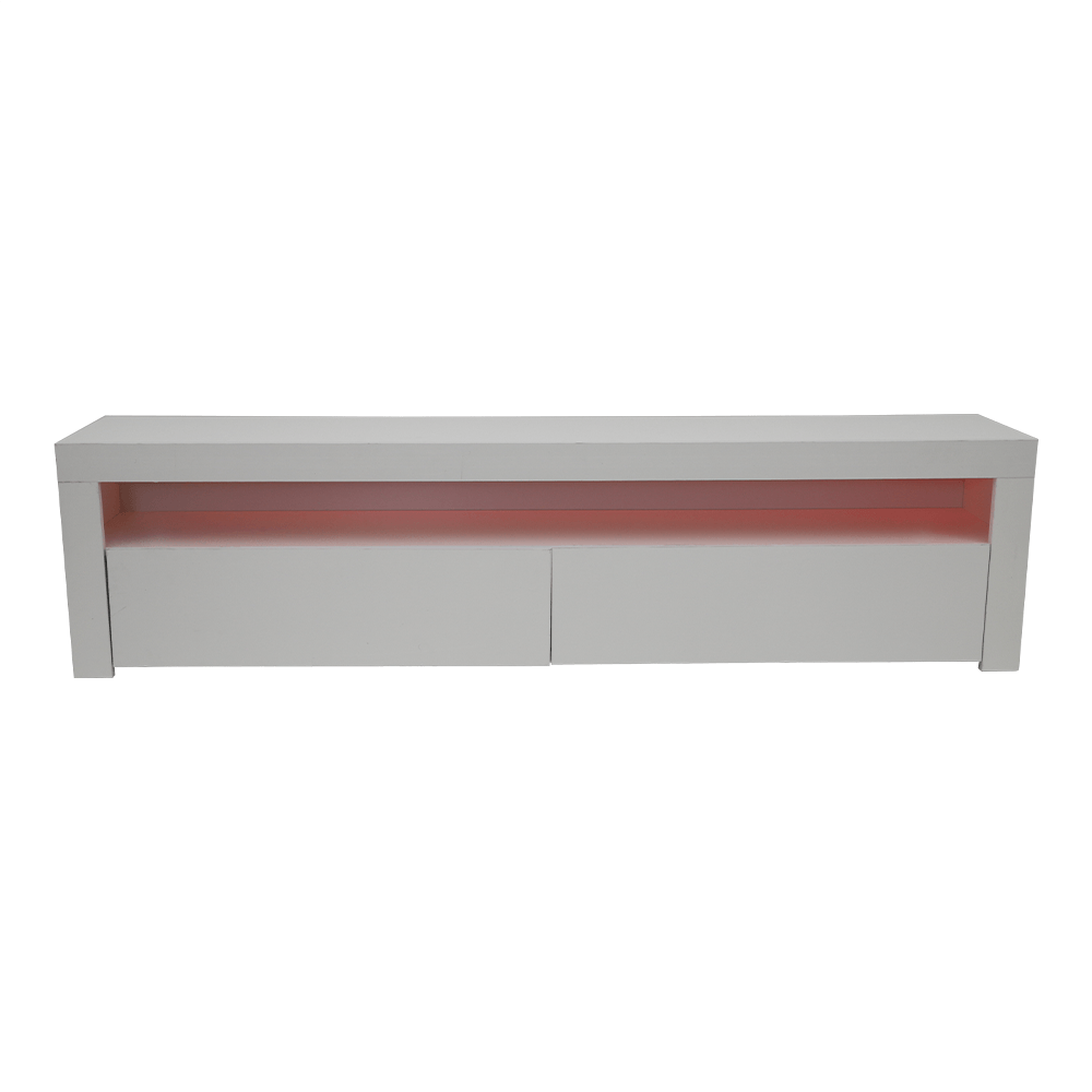 طاولة تلفاز خشبية لون أبيض متنوعة الإضاءة من تجارة بلا حدود للأثاث