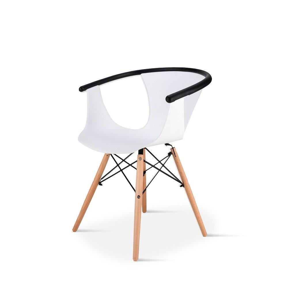 كرسي عصري للاستقبال من طقم كراسي 5 قطع لون أبيض في تجارة بلا حدود