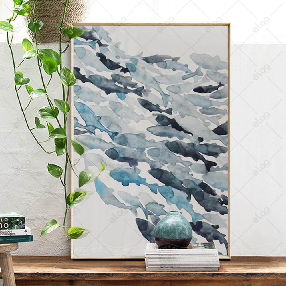 لوحة فن تجريدي مجموعة اسماك بدرجات اللون الازرق بخلفية باللون الابيض