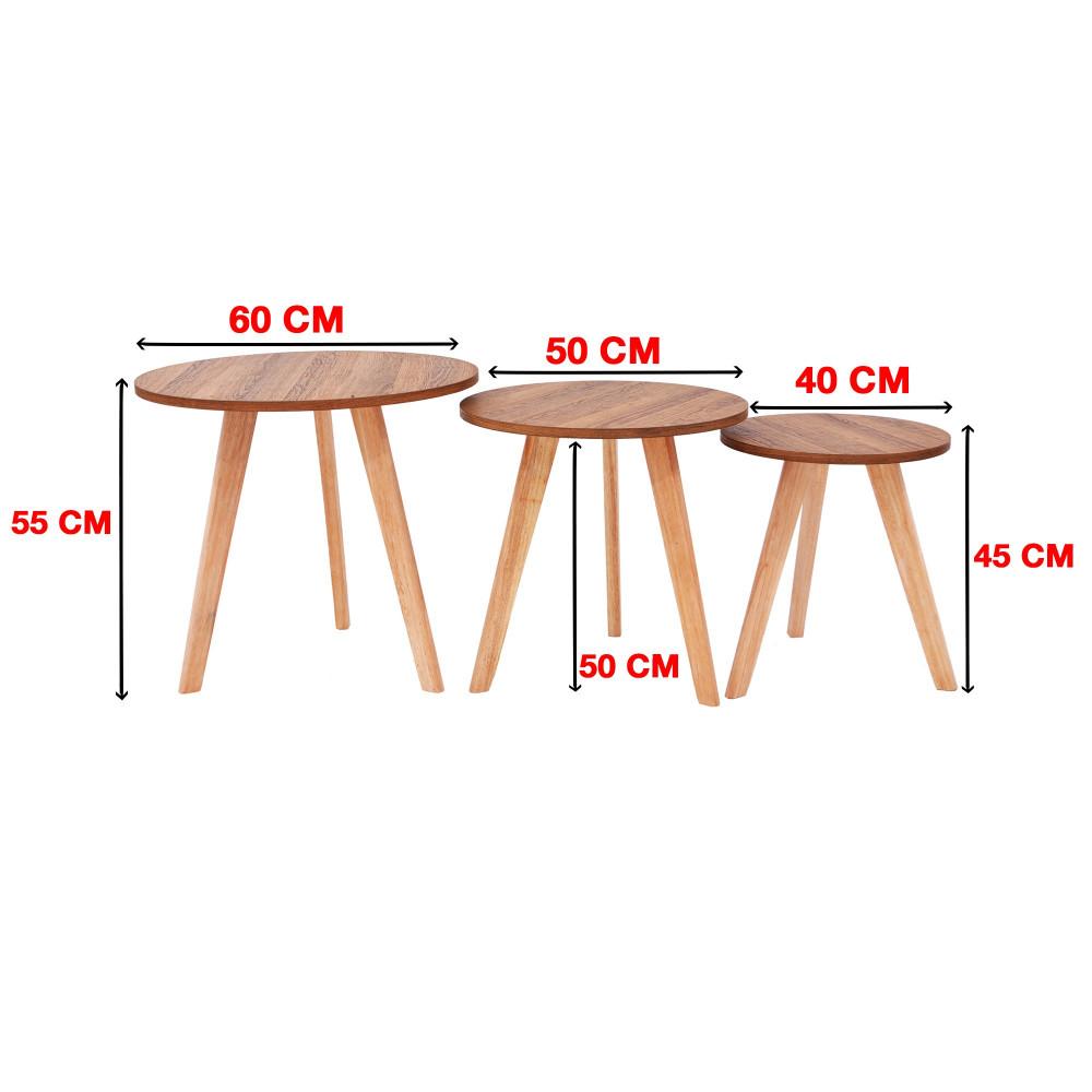 من كاماC-707brown طقم طاولة خدمة خشب لون بني دائري ثلاثي