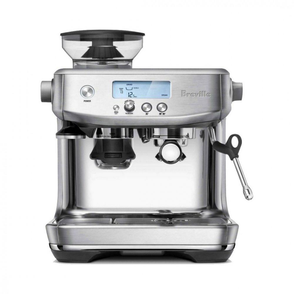 ماكينة قهوة مع مطحنة بريفيل برو لون فضي