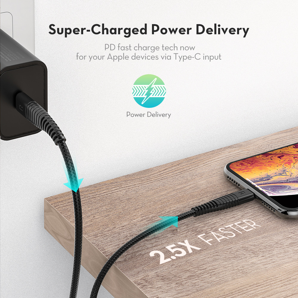 Ravpower Lightning Type C Black Apple 1m