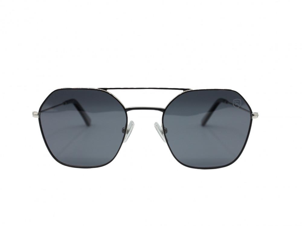 نظارة شمسية تصميم العدسه سداسي من ماركة troy اللون فضي رجالية كلاسيكيه
