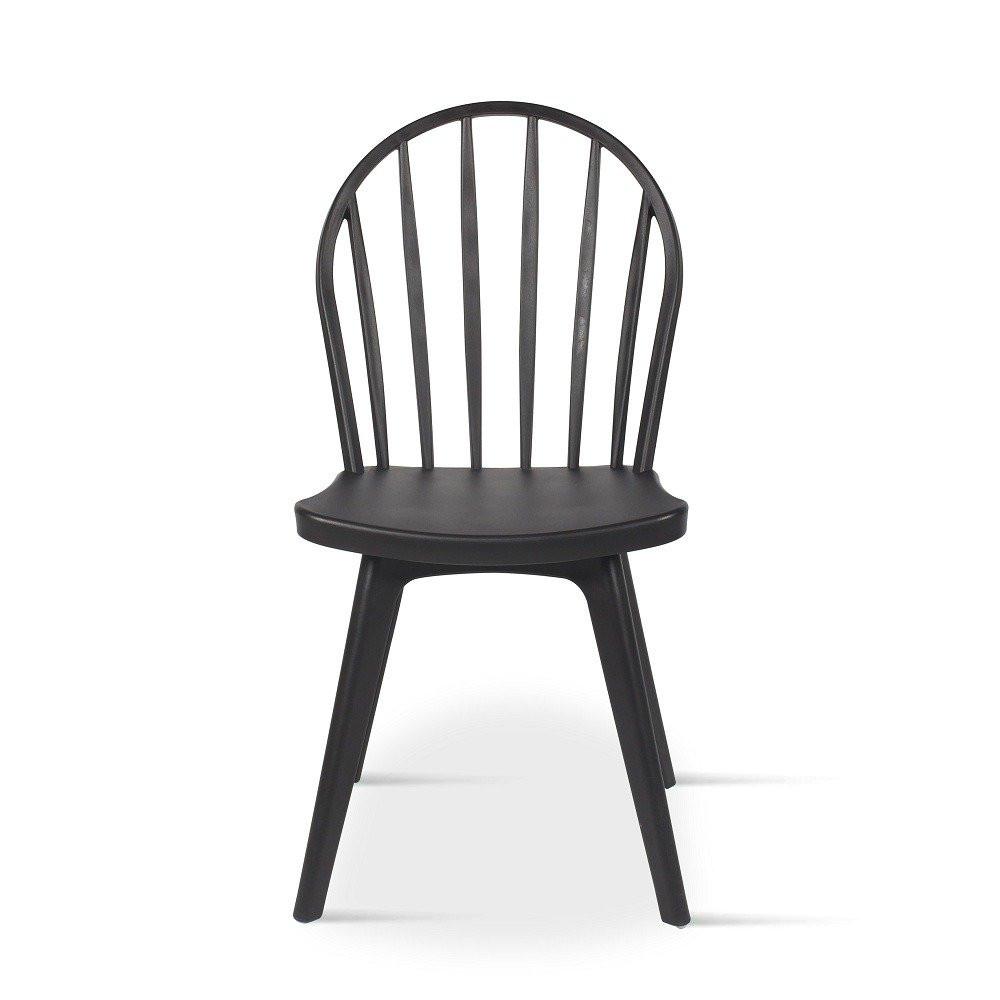 رؤية أمامية للكرسي من طقم كراسي 4 قطع أسود في تجارة بلا حدود للأثاث