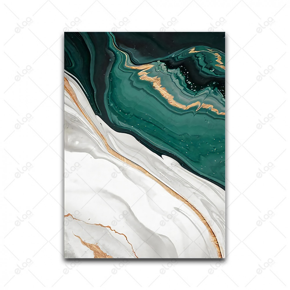 لوحات فن تجريدي لدرجات الأخضر الغامق والذهبي والأبيض