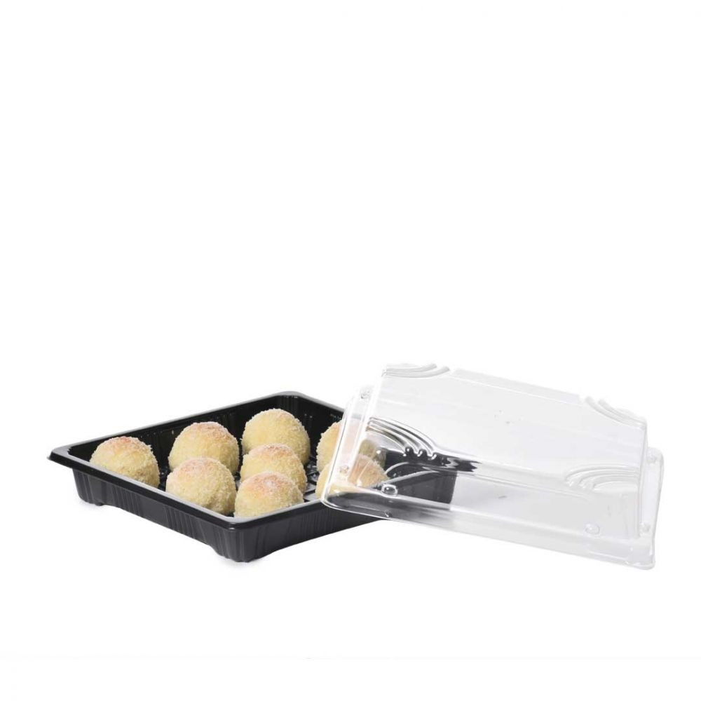 صحون اسود مربع بغطاء شفاف 50 حبة