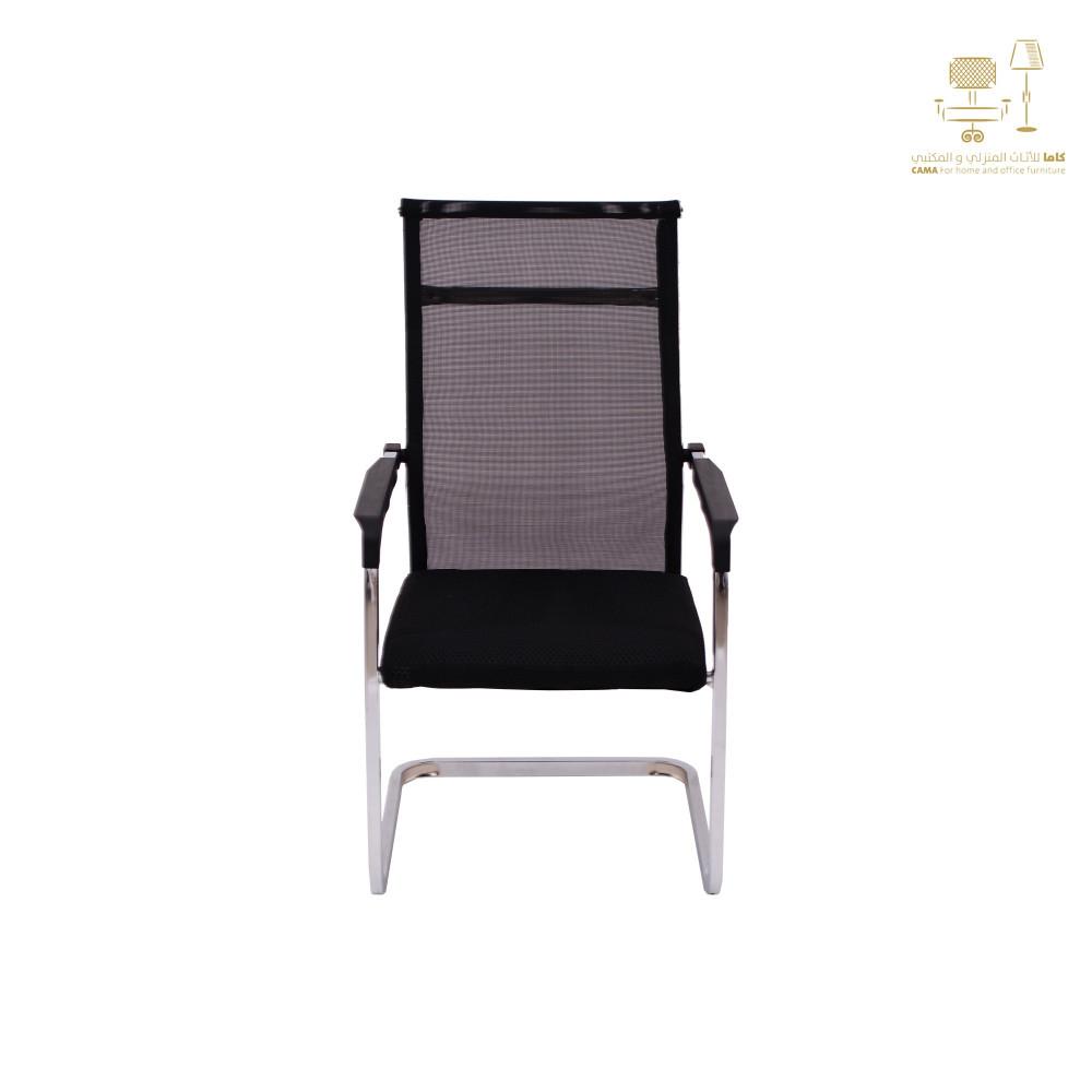 كرسي كاما شبك ثابت اسود ظهر طويل zh-620
