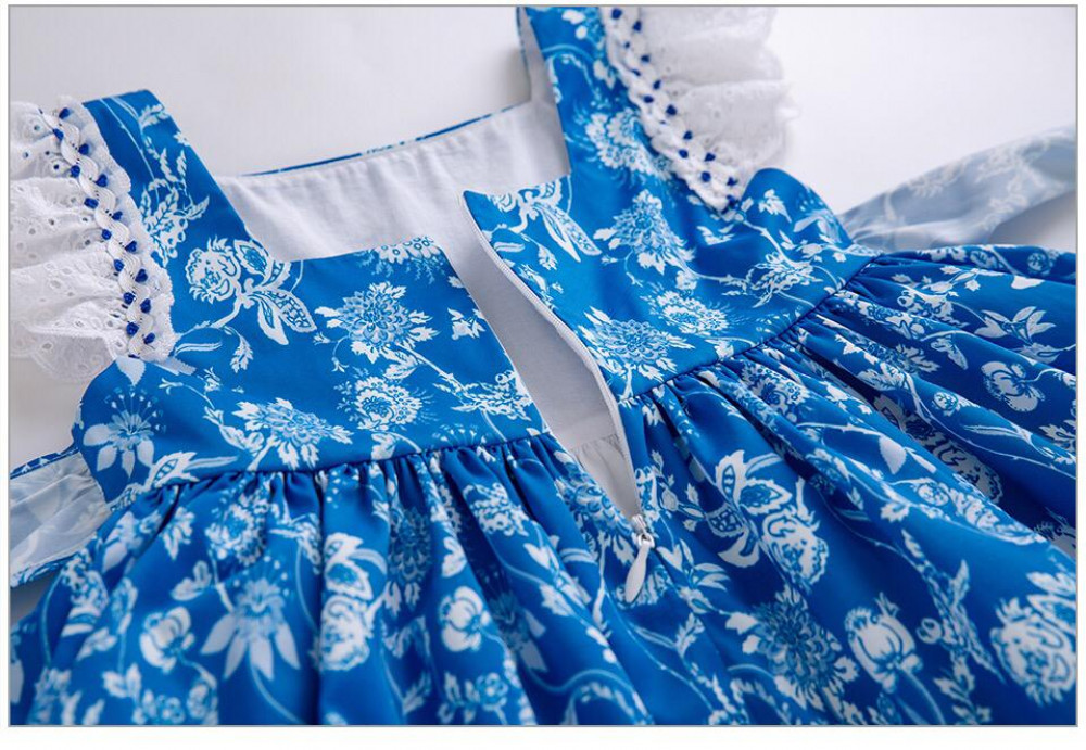 فستان بيبي ازرق بفيونكا كبيره فانسي كلوزيت