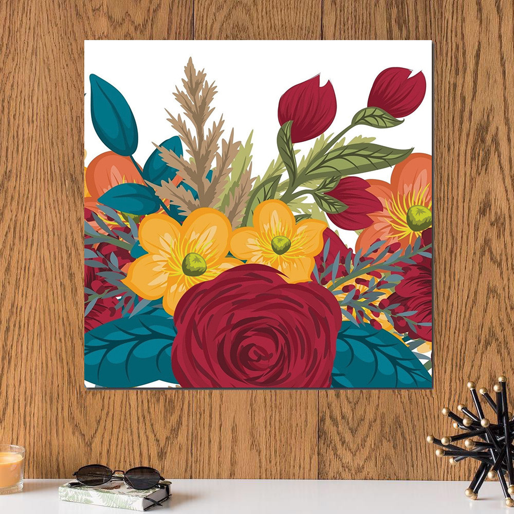 لوحة الورد خشب ام دي اف مقاس 30x30 سنتيمتر