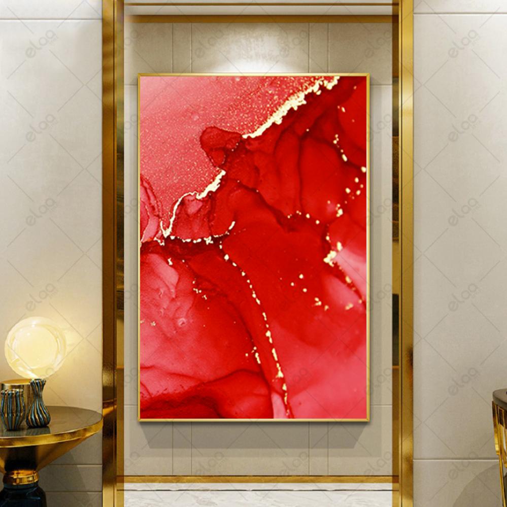 لوحة فن تجريدي باللون الوردي وخطوط الذهب