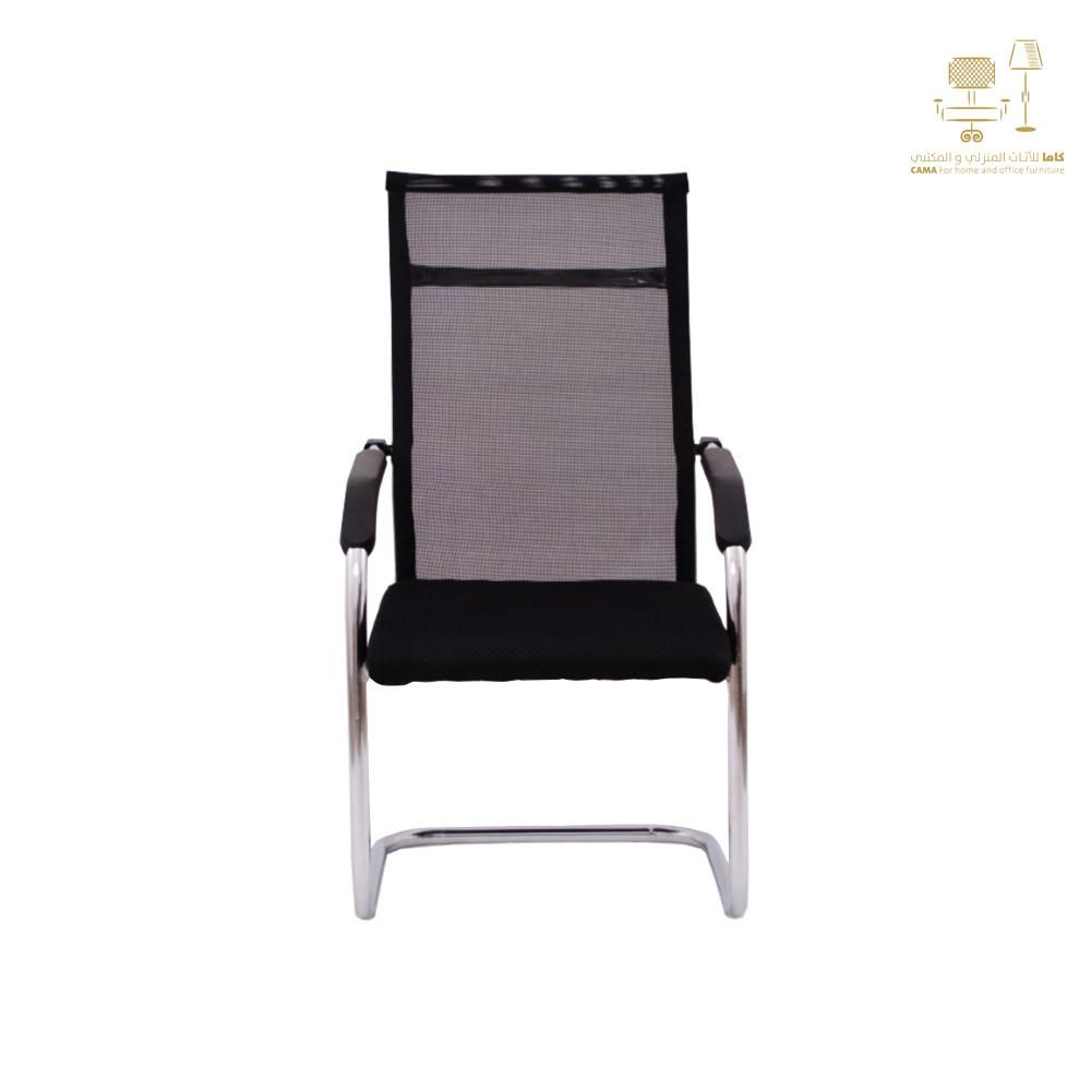 كرسي كاما شبك ثابت اسود ظهر طويل zh-410