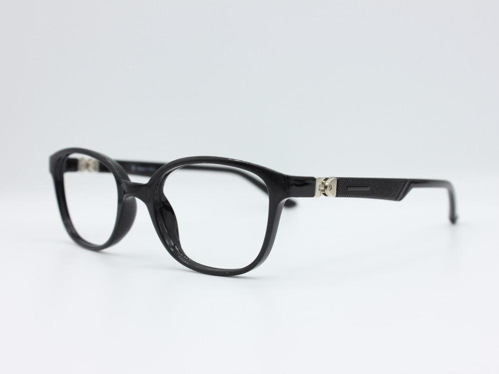 نظارة طبية للأطفال من ماركة T دائرية مع عدسات بحماية لون الاطار اسود 3