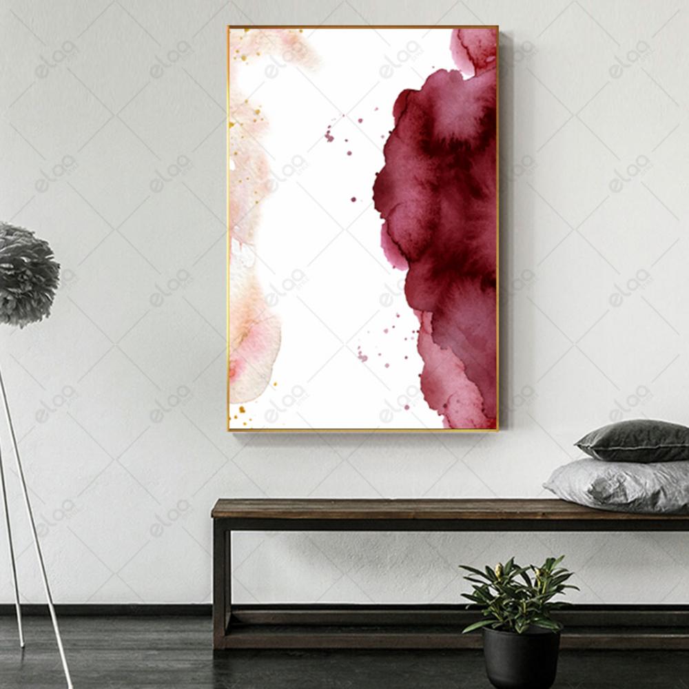 لوحة فن تجريدي بدرجات اللون الوردي والابيض
