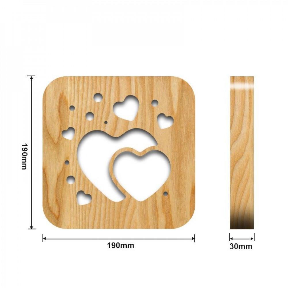 مواسم تحفة فنية خشبية شكل قلبين القياسات التفصيلية للطاولة والقاعدة
