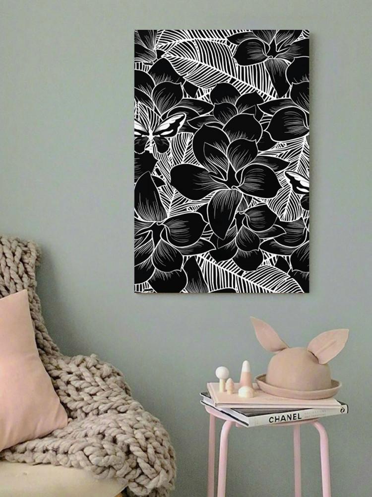 لوحة الزهور أبيض و أسود خشب ام دي اف مقاس 40x60 سنتيمتر