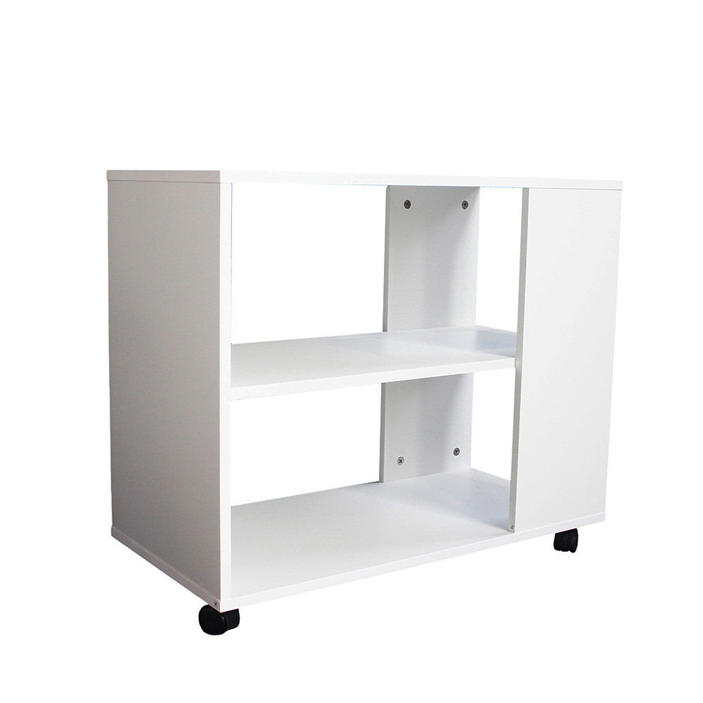 أبعاد طاولة جانبية متحركة موديل ستيلو خشب أبيض2 وحدة تخزين و3 أرفف