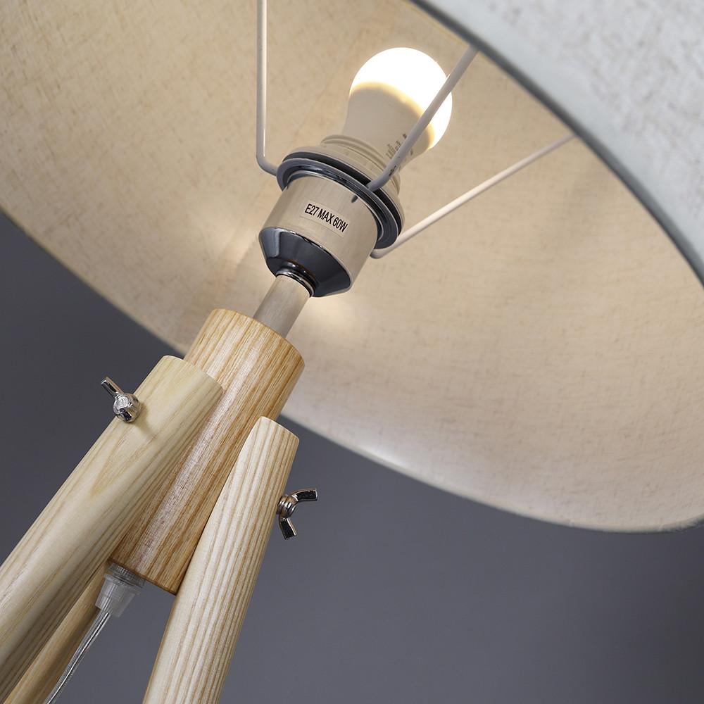 متجر مواسم زوم لمصباح أباجورة أرضية سيمبل بقاعدة خشبية والغطاء العلوي