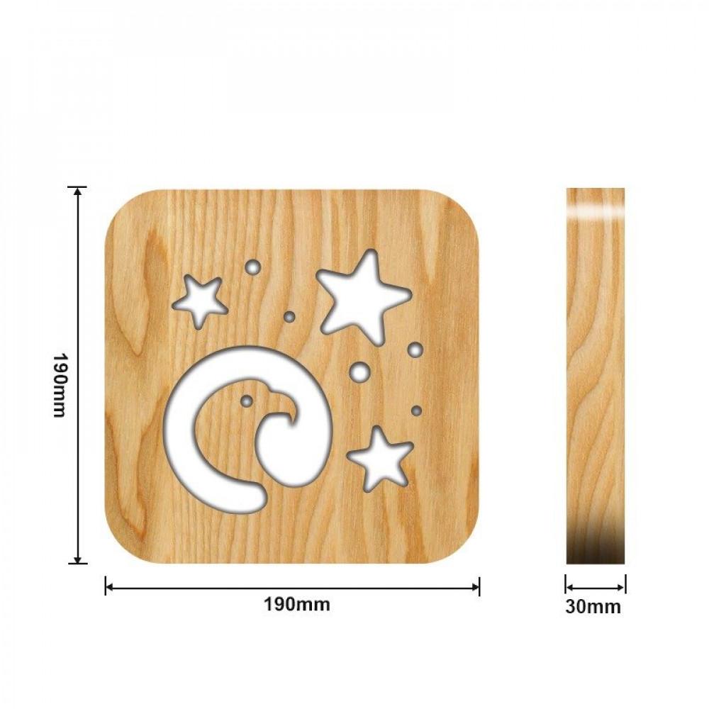 تحفة شكل النسر مضيئة خشبية من متجر مواسم القياسات التفصيلية للتحفة
